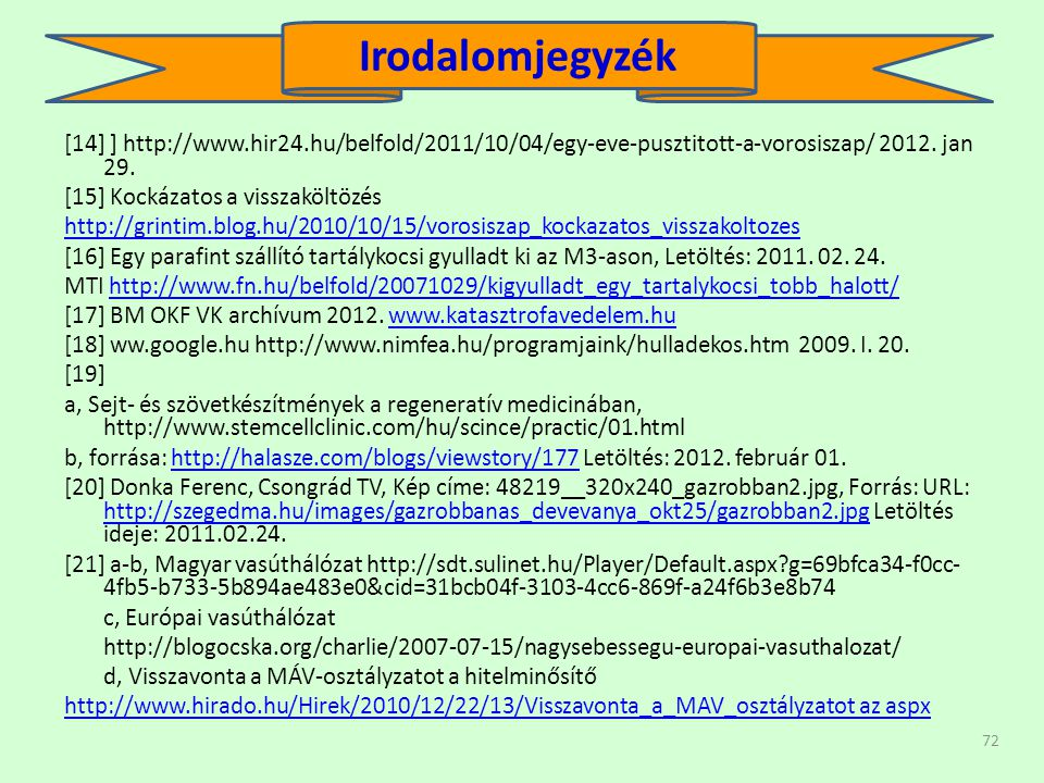 Irodalomjegyzék [14] ] http://www.hir24.hu/belfold/2011/10/04/egy-eve-pusztitott-a-vorosiszap/ 2012. jan 29.